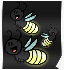 Cartoony Fireflys Poster