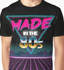 Made in The 80s - Born in Eighties retro Neon Grid Graphic T-Shirt