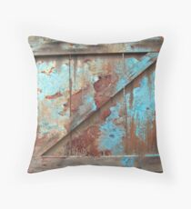 Primitive Western Country Barn Door Rustic Turquoise Barnwood  Throw Pillow