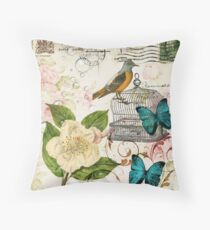 shabby chic teal butterfly french bird rose botanical floral  Throw Pillow
