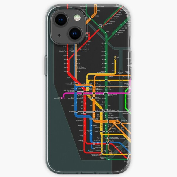 New York City dark subway map iPhone Soft Case