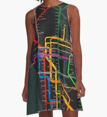 Vestido acampanado Mapa del metro oscuro de la ciudad de Nueva York