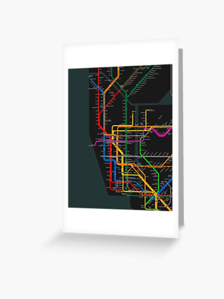 Nyc Subway Map Cards.New York City Dark Subway Map Greeting Card