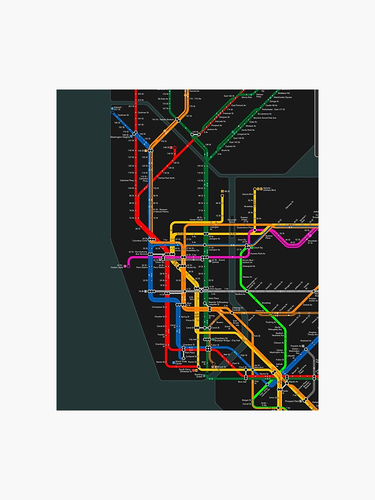 New York Subway Map To Print.New York City Dark Subway Map Photographic Print