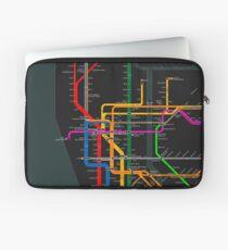Funda para portátil Mapa del metro oscuro de la ciudad de Nueva York