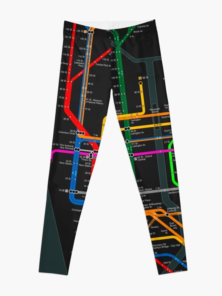 Alternate view of New York City dark subway map Leggings