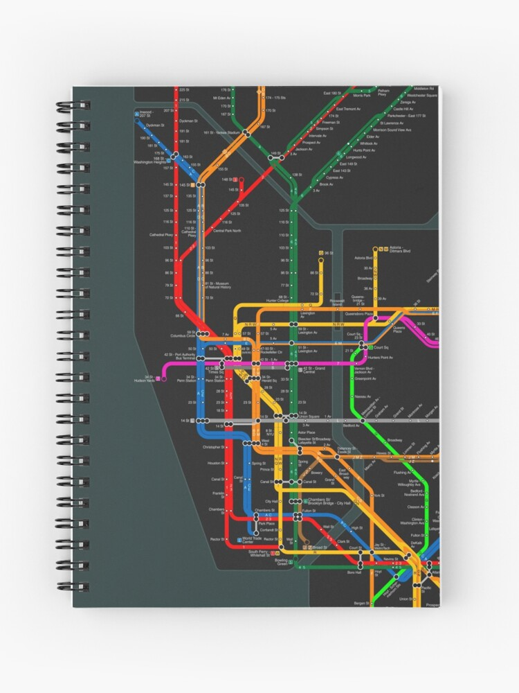 Subway Map Paper Products.New York City Dark Subway Map Spiral Notebook
