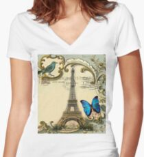 Shabby chic Wanderlust French Butterfly Paris Eiffel Tower Women's Fitted V-Neck T-Shirt