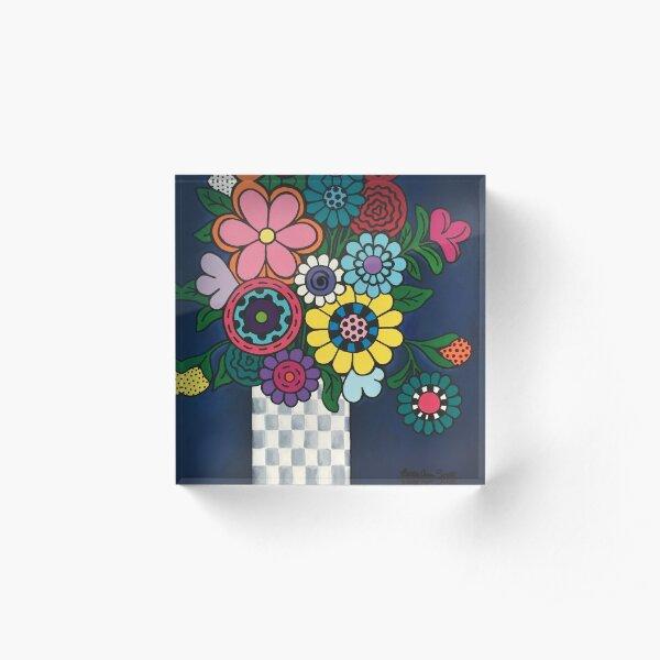 Checkered Bouquet Acrylic Block