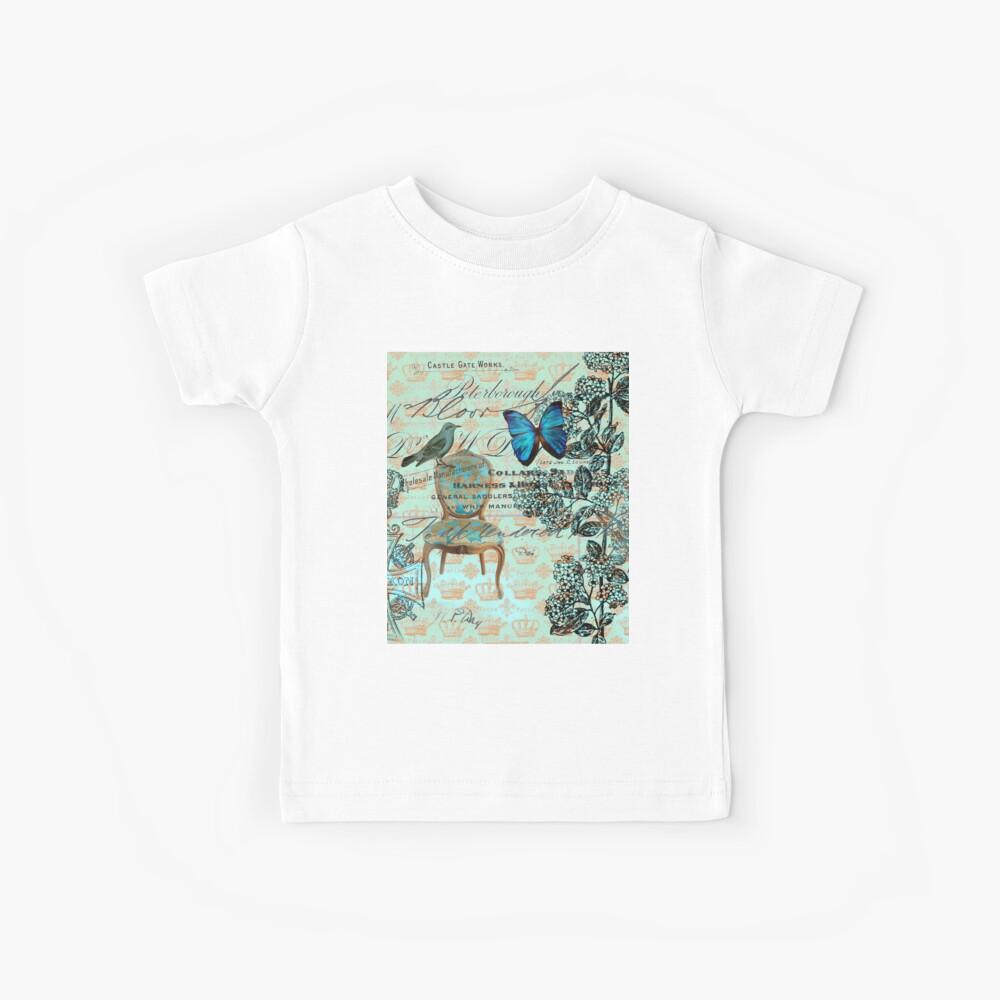 Häuschen Chic Scripts Schmetterling Minze Vogel botanische Französisch Land Kinder T-Shirt