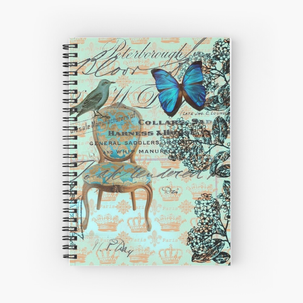 Chic And Co Paris cottage chic scripts butterfly mint bird botanical french country   spiral  notebook