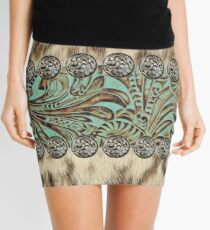 Rustic brown cowhide teal western country tooled leather  Mini Skirt