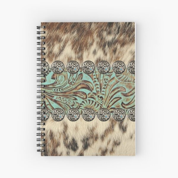 Rustic brown beige teal western country cowboy fashion Spiral Notebook