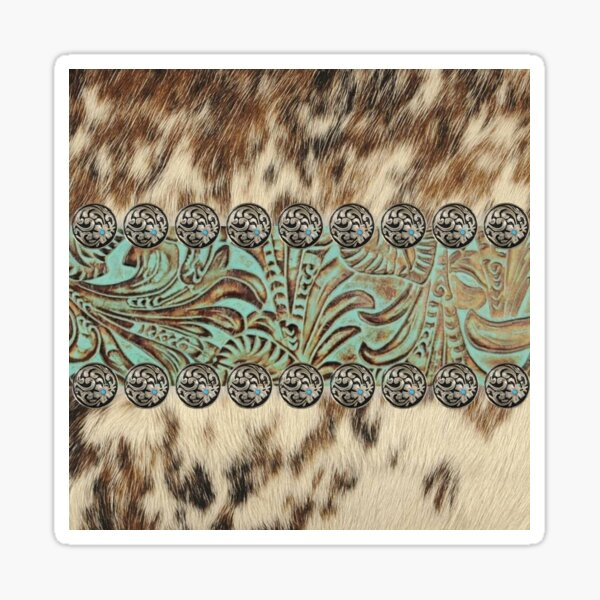 Rustic brown cowhide teal western country tooled leather  Sticker