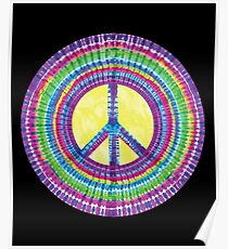 Tie Dye Peace Sign Tye Die Cool Hippie Rainbow Graphic Poster