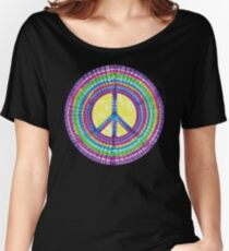 Tie Dye Peace Sign Tye Die Cool Hippie Rainbow Graphic Women's Relaxed Fit T-Shirt
