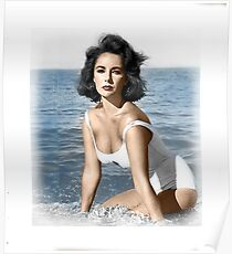 Elizabeth Taylor Beach Poster