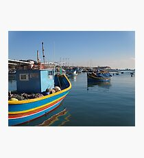 Primary Colored Boat in Blue Photographic Print