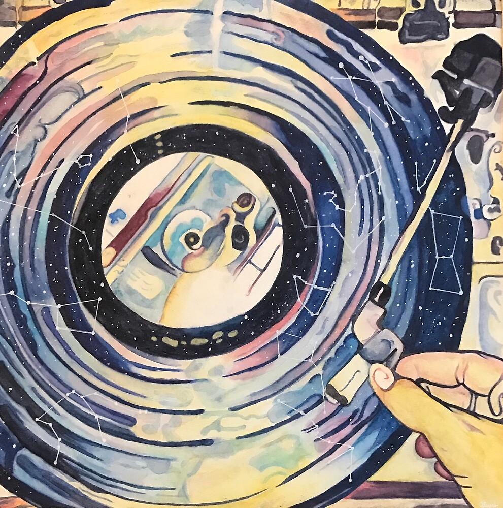 Watercolor Record Player by Aliyah Jones