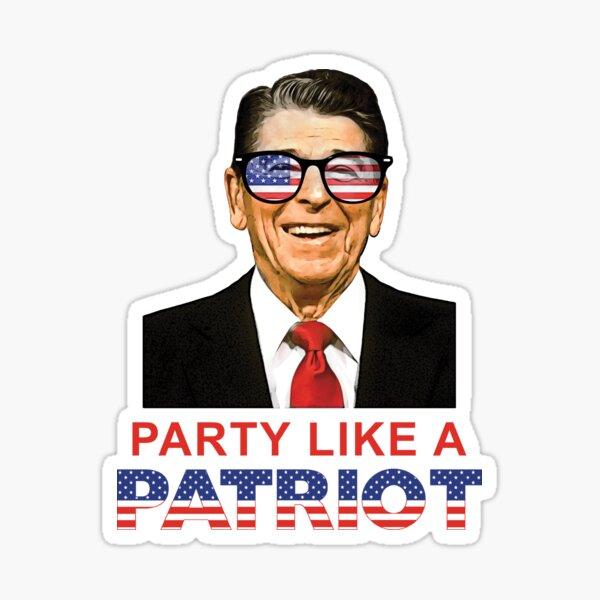 Party Like A Patriot Ronald Reagan USA Flag Sunglasses  Sticker