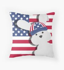 INDEPENDENCE DAY BUNNY Throw Pillow