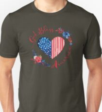 God Bless America USA Heart Patriotic Boho July 4th Design Unisex T-Shirt