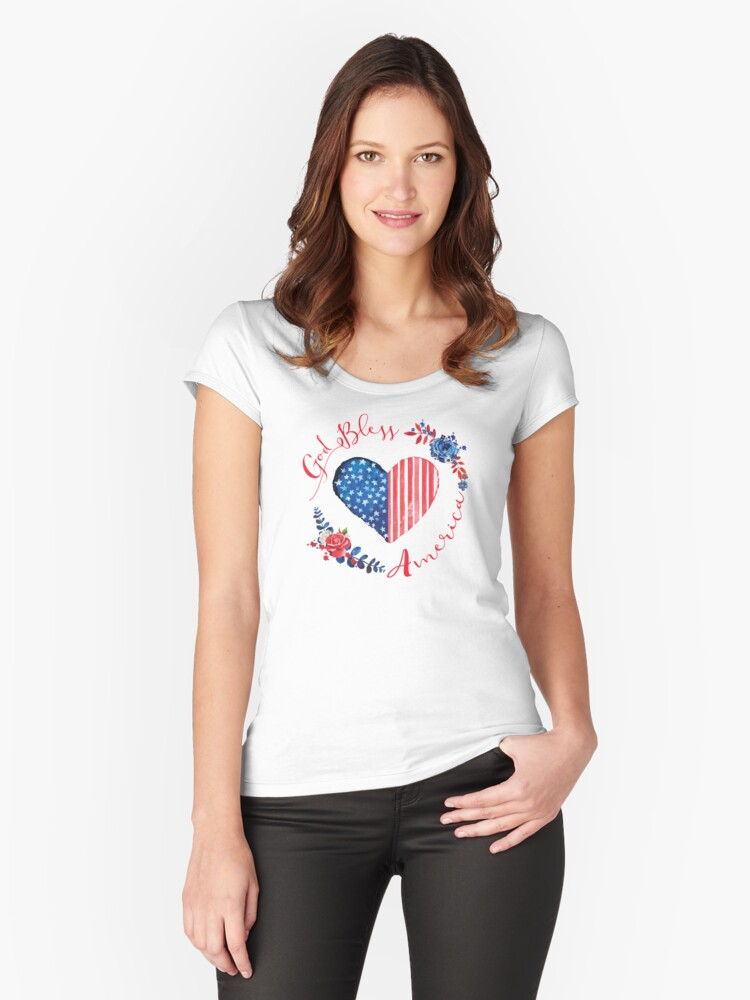 God Bless America USA Heart Patriotic Boho July 4th Design Women's Fitted Scoop T-Shirt Front