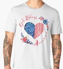 God Bless America USA Heart Patriotic Boho July 4th Design Men's Premium T-Shirt