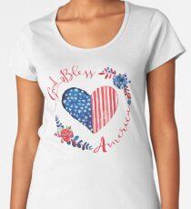 God Bless America USA Heart Patriotic Boho July 4th Design Women's Premium T-Shirt