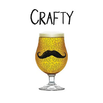 Crafty Funny Craft Beer Mustache Brewskie Suds Lover Design by TrendyTees12