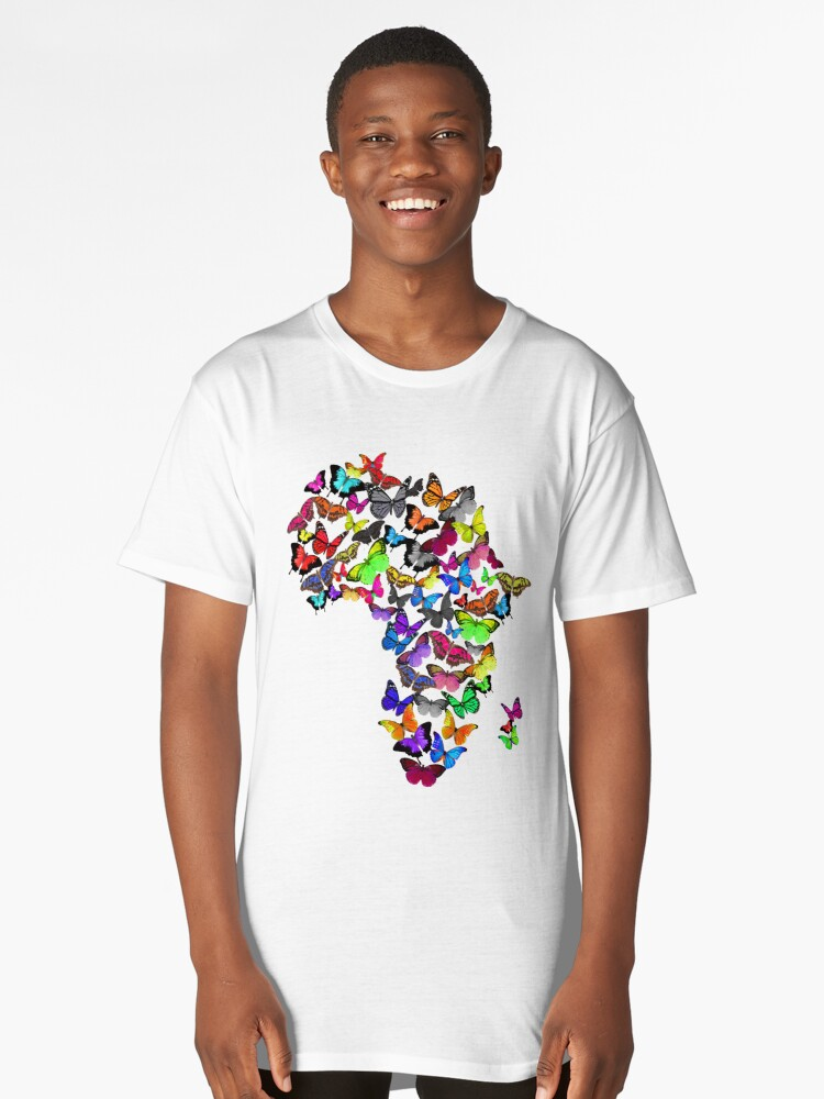 I love Africa Butterfly map Long T-Shirt Front