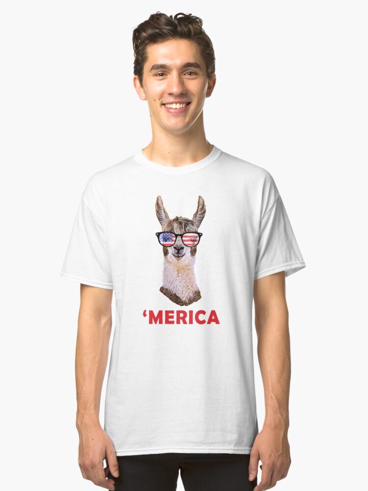 'Merica Llama Patriotic USA July 4 Sunglasses Funny Graphic Classic T-Shirt Front