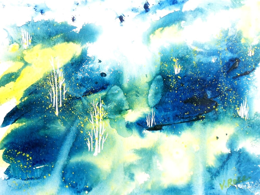 Midnight Moon Abstract WaterColor by Vallee Rose