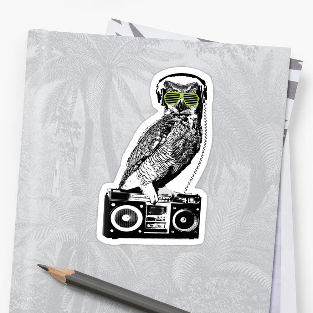 Owl shutter shades sunglasses rage music boom box radio by trendytees12