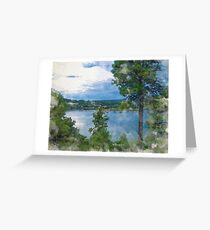 Before the Storm at the Lake in Watercolor Greeting Card