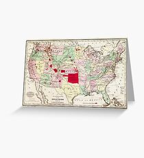 Map of Indian Tribes within the United States (1868) Greeting Card