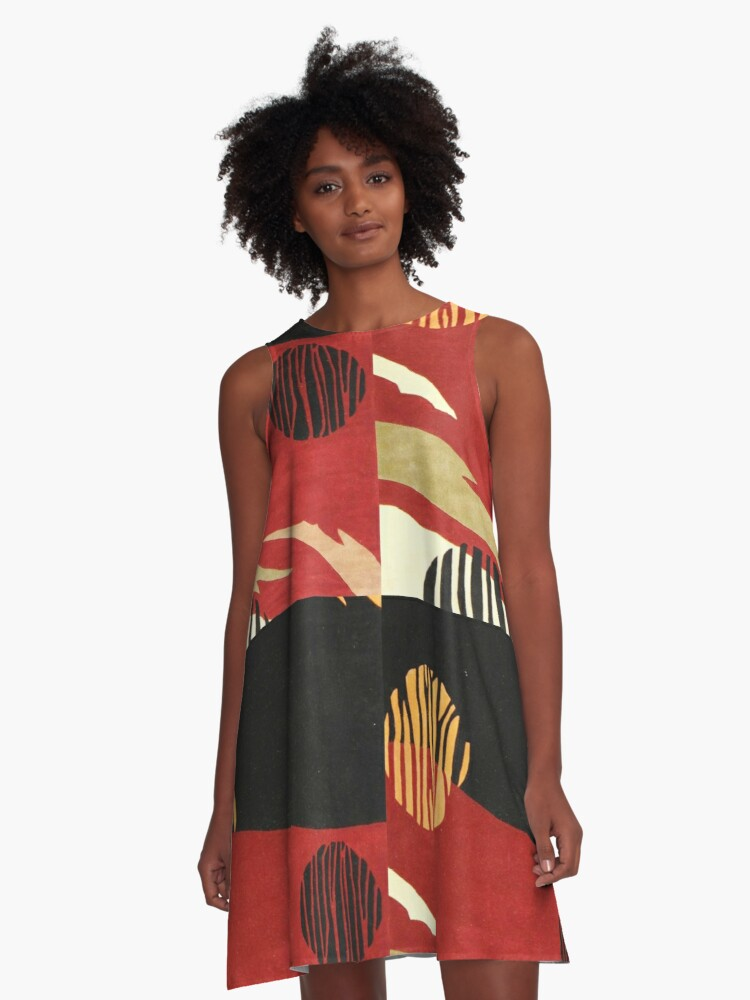 Art, Abstract, Modern, Red, Black and Tan A-Line Dress Front