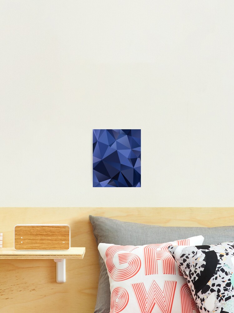 Abstract Background Of Triangles Polygon Wallpaper In Navy Blue Colors Photographic Print