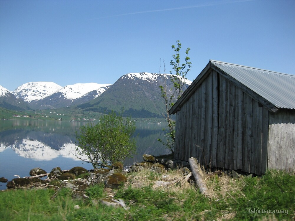 House by the lake in Sogn og Fjordane, Norway by tshirtsnorway