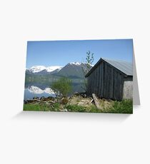 House by the lake in Sogn og Fjordane, Norway Greeting Card
