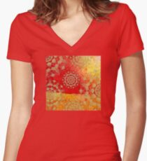 Gold Red Saffron Mandalas Textured Pattern Women's Fitted V-Neck T-Shirt