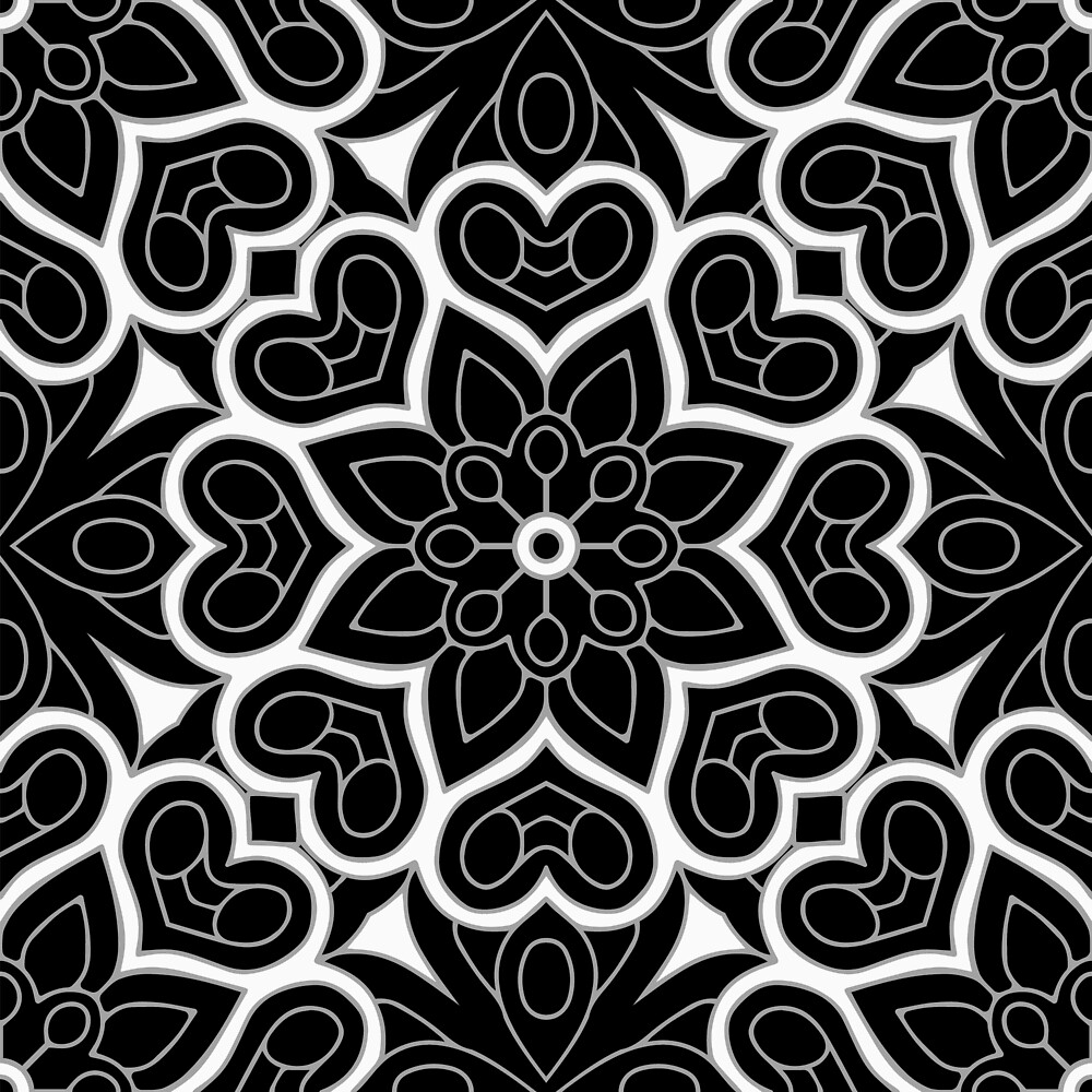 Black and White Flower Hearts by roseglasses