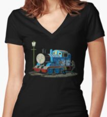 Banksy Thomas The Tank Engine Women's Fitted V-Neck T-Shirt