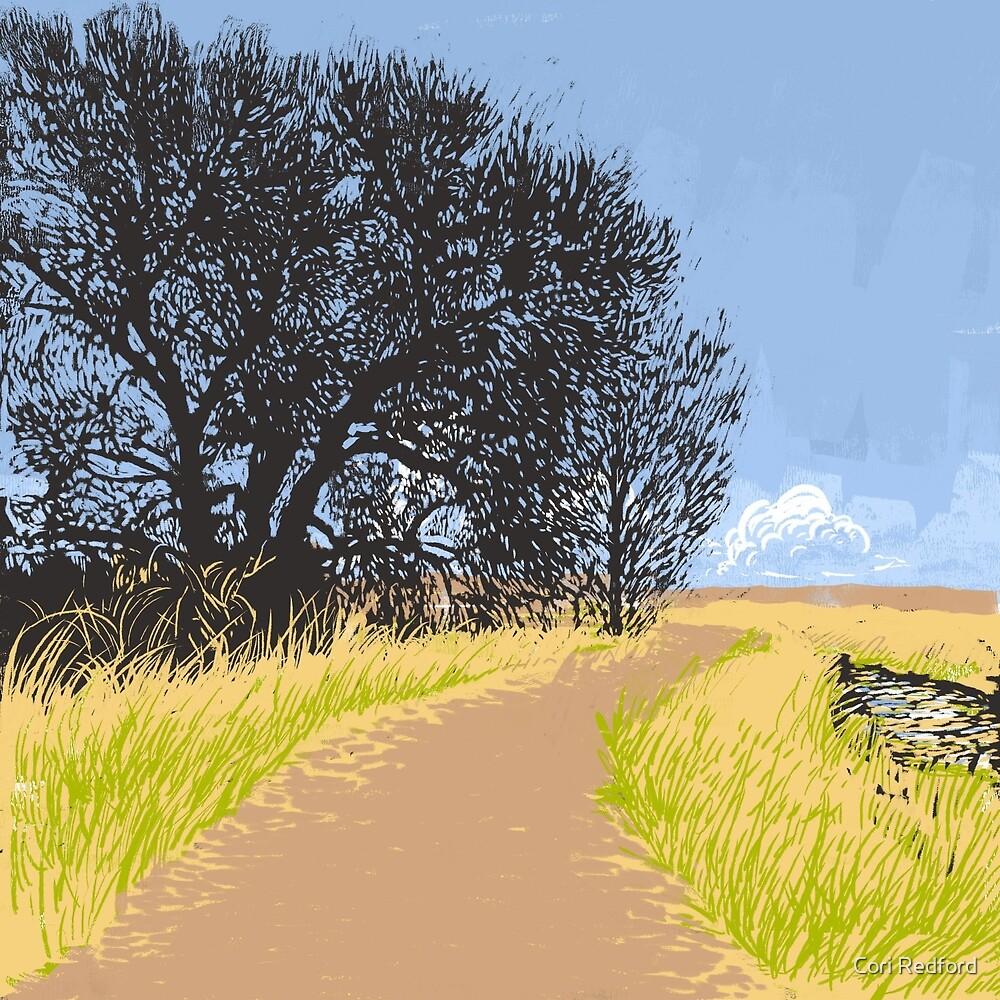 Country Road - Linoleum Cut Print by Cori Redford
