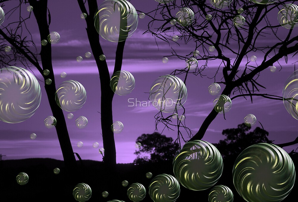 Purple Sunset Bubbles by SharonD