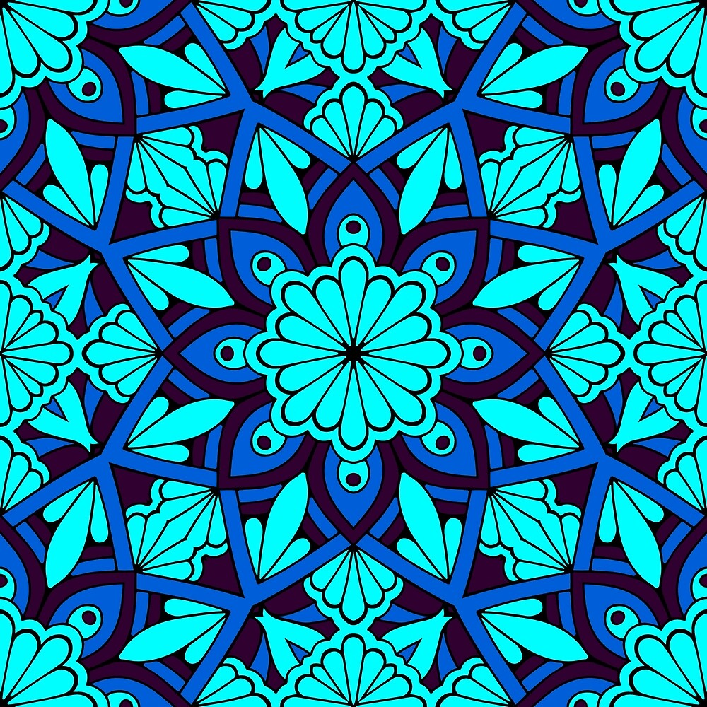Blue Flower Pattern by roseglasses