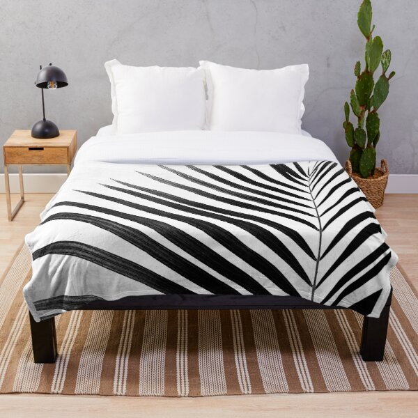 PALM LEAF Black & White Throw Blanket