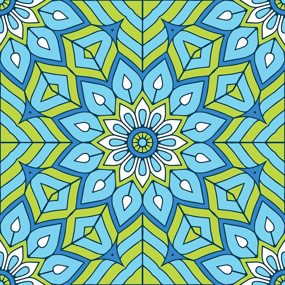 Blue Flower Pattern by roseglasses