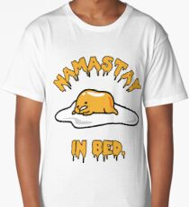Namastay in Bed Gudetama Yoga Humor Lazy Egg Long T-Shirt