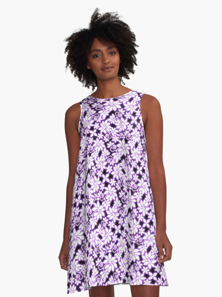 Electric Violet Garden A-Line Dress Front